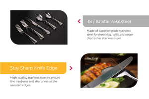 Cutlery features Stay Sharp Serrated Knife, high-quality.