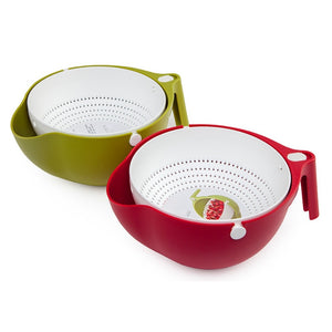 Double Drain Basket Bowl Washing Kitchen Strainer Green and Red Color