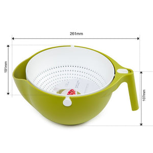 Double Drain Basket Bowl Washing Kitchen Strainer Dimension.