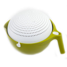 Load image into Gallery viewer, Double Drain Basket Bowl Washing Kitchen Strainer Locked Position.