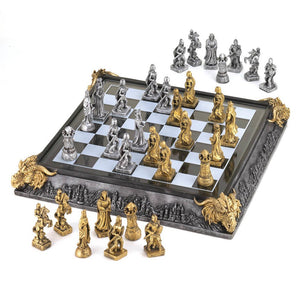Medieval Glass Chess Board with Castle Mosaics Carved, Sculptured Dragon Heads and Molded Life Like Pieces.