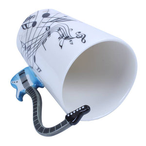 Creative Music Violin Style Blue Guitar Ceramic Mug Coffee Tea Milk Stave Cups with Handle