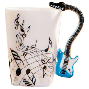 Creative Music Violin Style Guitar Ceramic Mug Side view