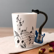 Load image into Gallery viewer, Creative Musical Note Violin Style Blue and White Guitar Handle Ceramic Coffee Mug
