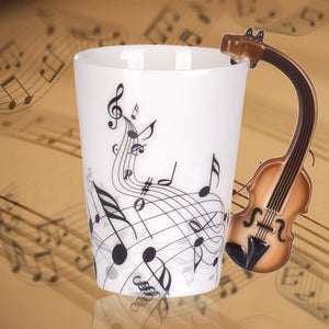 Creative Musical Note Violin Style Brown Guitar Ceramic Mug Full View