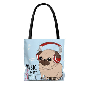 Music is My Life Listening Pup Tote Bag - Music Theory Shop