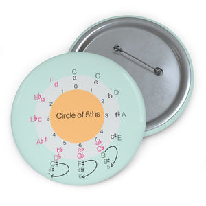 Circle of 5ths Pin Button - aqua - Music Theory Shop