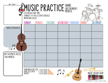 Music Practice Charts for Kids, College Kids, Adults