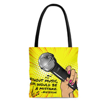 Without Music Life Would Be A Mistake Tote Bag - pop art mic/cheetah