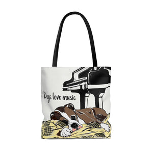 """Dogs Love Music"" Tote Bag"