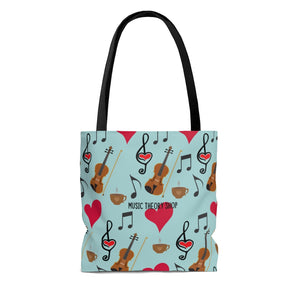 Violin Viola Coffee Hearts Music Clefs Tote Bag - Gift for Musician