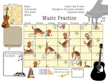 3 Printable Music Practice Charts, Tracker, Doggo, Doggie, Musician Dog Lovers, Music Teacher