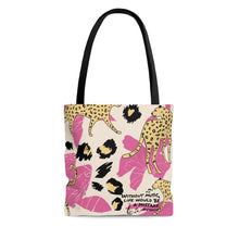 Without Music Life Would Be A Mistake Tote Bag - modern/cheetah