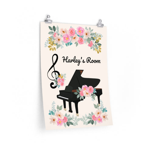 Personalized Music Room Poster, Floral, Piano, Treble Clef, Gift for Musician, Music Studio