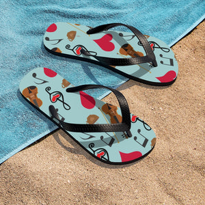 Violin Viola Coffee Hearts Music Clefs Aqua Unisex Flip-Flops - Gift for Musician