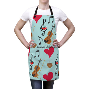 Violin Viola Coffee Hearts Clef Apron | Gift for Musician