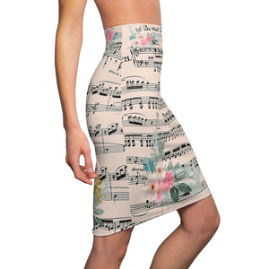 Beethoven Pencil Skirt, Vintage Sheet Music, Floral Women's