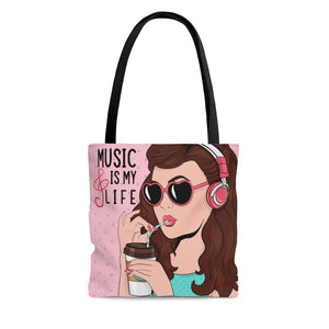 Music is My Life Coffee Tote Bag - Music Theory Shop