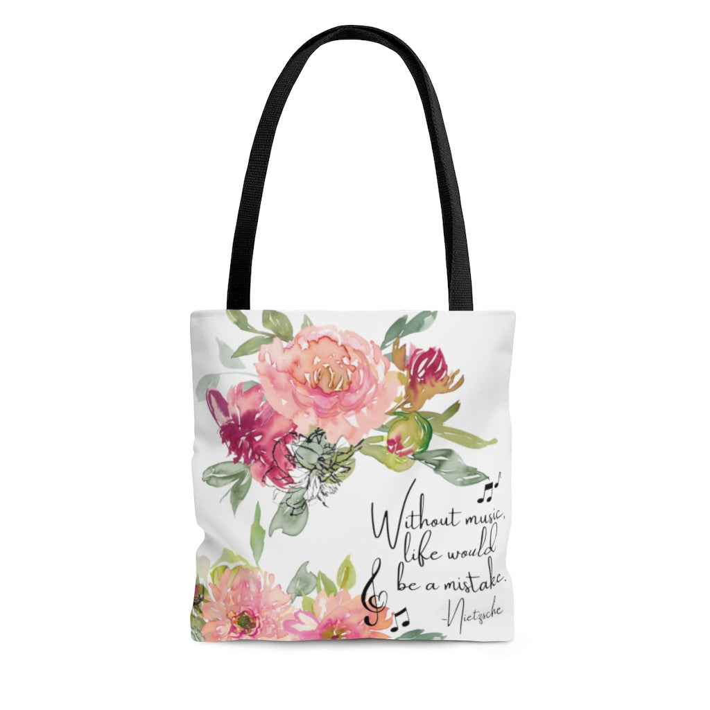 Shabby Chic Musical Quote Tote Bag - Watercolor Floral/White