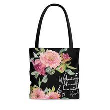 Shabby Chic Musical Quote Tote Bag - Watercolor Floral/Black - Music Theory Shop