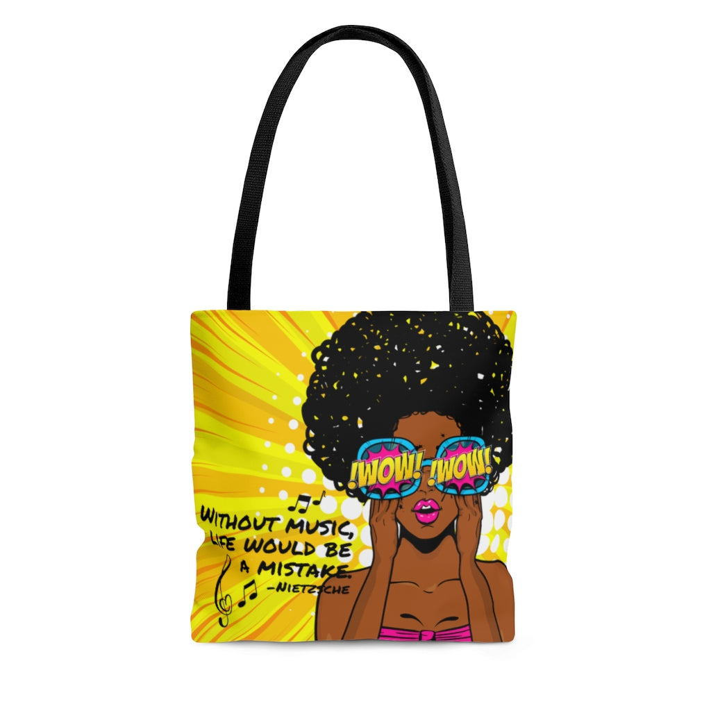 Without Music Life Would Be A Mistake Tote Bag - pop art WOW/cheetah