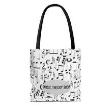 Musical Notes, Clefs, Rests Tote - White - Music Theory Shop