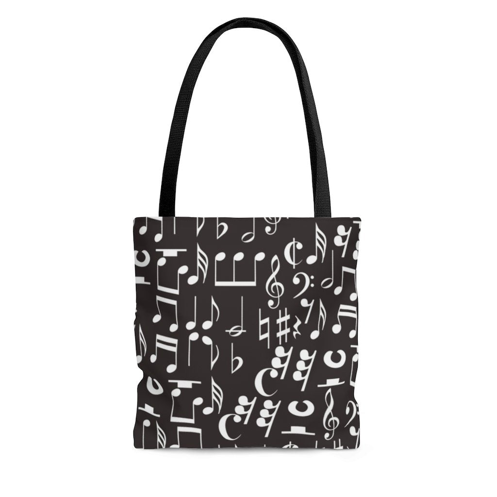 Musical Notes, Clefs, Rests Tote - Black - Music Theory Shop