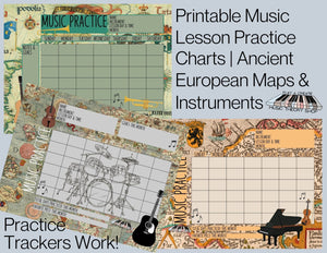 3 Printable Music Practice Charts, European Maps, Gothic, Instruments, Music Teacher