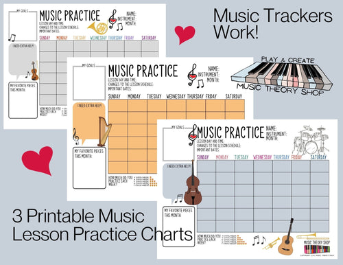 3 Printable Music Practice Charts, Tracker, Music Lessons, Music Progress Chart, Instruments, Music Teacher