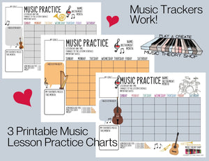 15 Printable Music Practice Charts, Music Teacher, Music Student, Gift for Musician