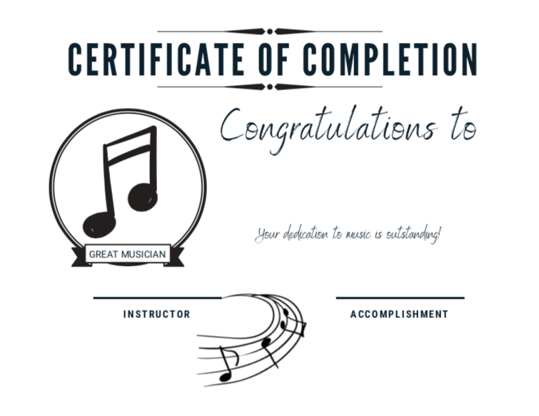Downloadable PDF - Student Certificates of Completion - Music Theory Shop