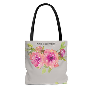 Shabby Chic Musical Quote Tote Bag - Watercolor Floral/Cashmere