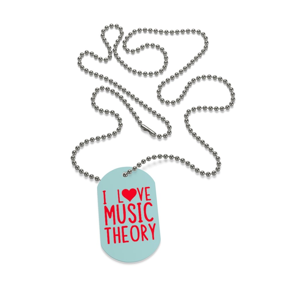 I ❤️ Music Theory Dog Tag Necklace - Music Theory Shop