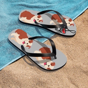 Bulldog Music Sandals Unisex Flip-Flops | Gift for musician dog-lover