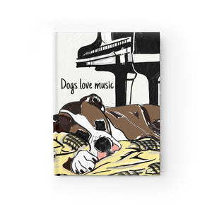 """Dogs Love Music"" Journal - Ruled Line - Music Theory Shop"