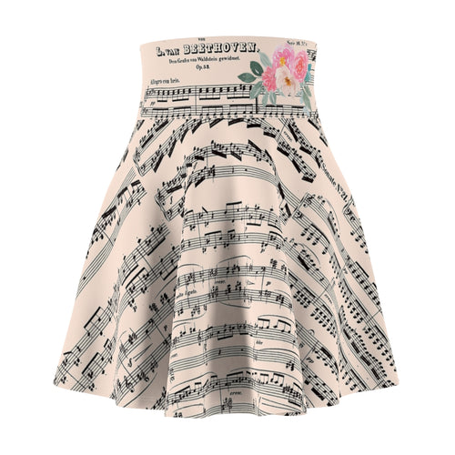 Beethoven Music Recital Women's Skirt, Vintage Sheet Music, Watercolor Floral