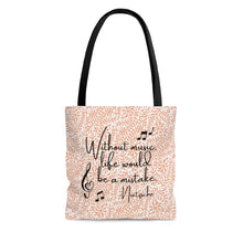 Without Music Life Would Be A Mistake Tote Bag - floral/arabesque
