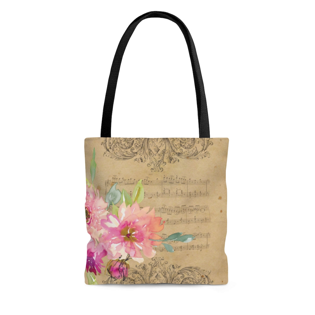 Vintage Sheet Music, Dreamy Flowers Tote Bag