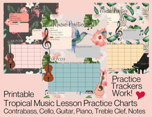 3 Printable Music Practice Charts, Tracker, Tropical, Hummingbird, Flamingo, Palm Leaf, Music Teacher
