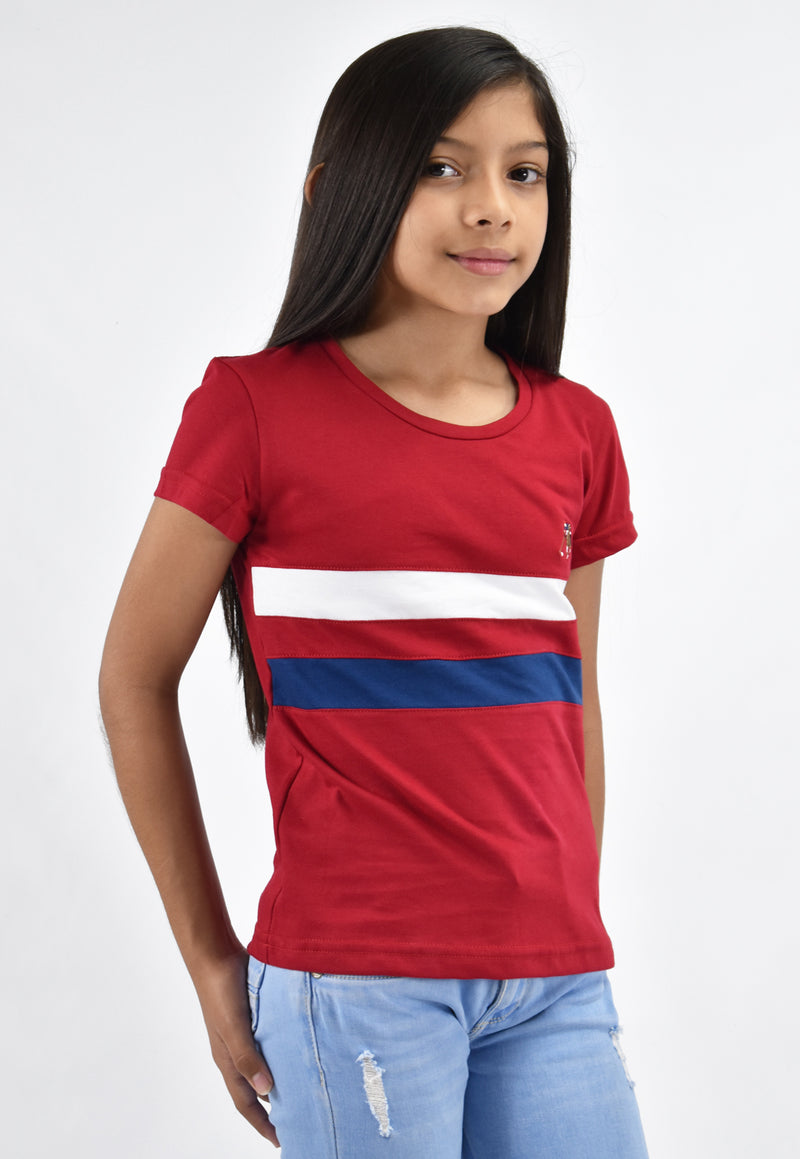 Camiseta smith rojo line para niña