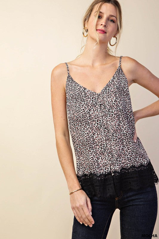 Leopard Button Down Silk Tank with Lace Detailed Hem