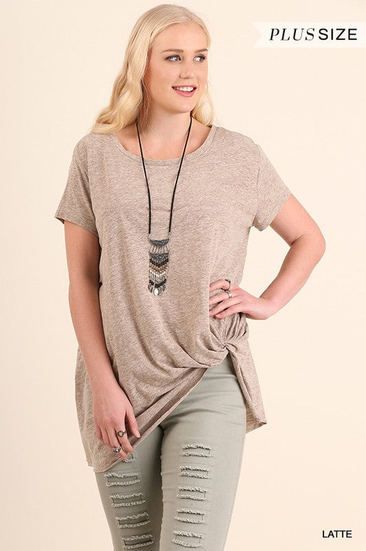 Short Sleeve Top w/ Gathered Unfinished Hemline - Plus