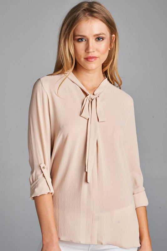 Button Up Round Hem Blouse with Self Tie Collar