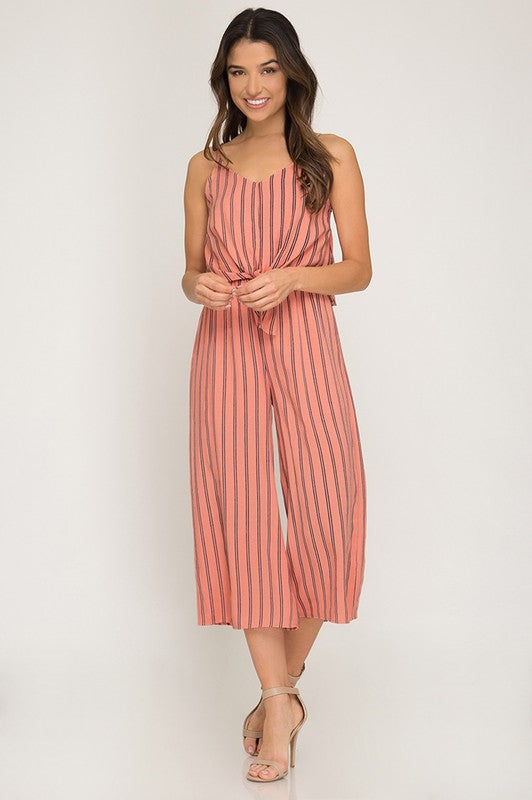 Striped Cami Culotte Jumpsuit with Front Tie Detail