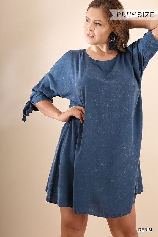 3/4 Sleeve Mineral Washed Dress w/ Cutout Shoulder - Plus