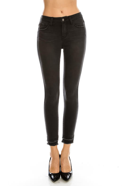 Mid-Rise Charcoal Skinny Jeans with Frayed Hem