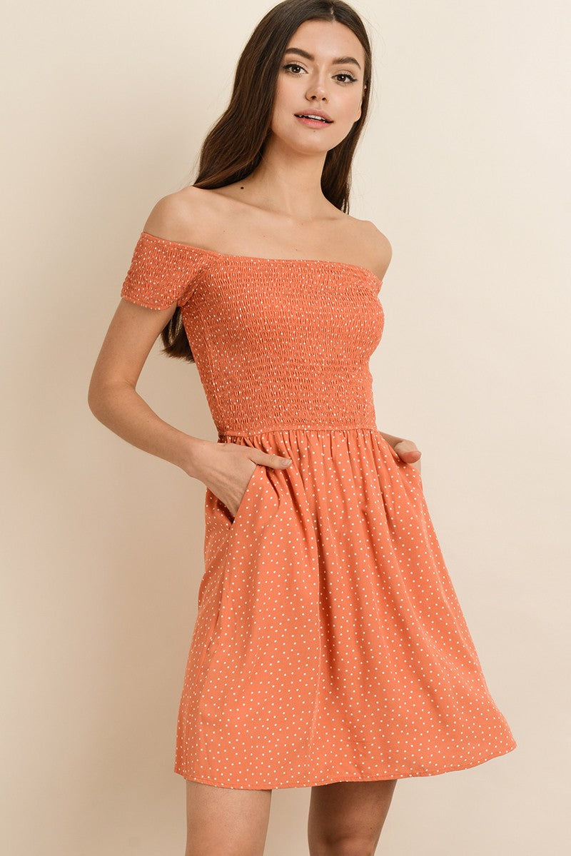 Polka Dot Print Off Shoulder Dress with Smocking & Side Pockets