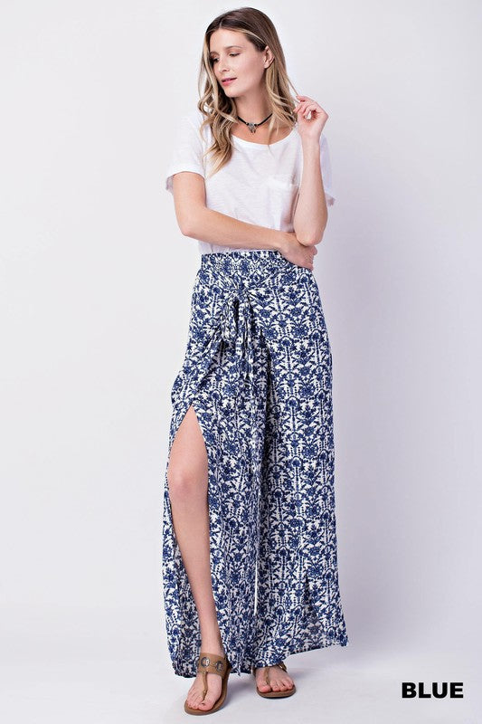 Blue and White Knotted Floral Pants