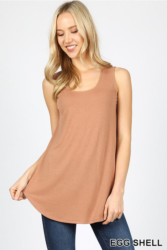 Round Neck & Round Hem Top Relaxed Fit Tank