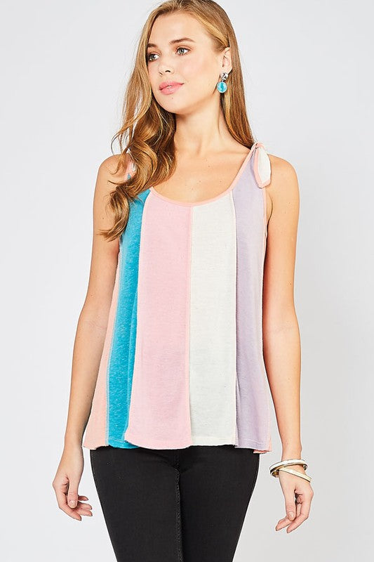 Color Block Tank Top w/ Tie Shoulder Straps